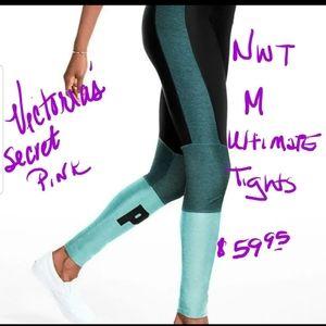 M NWT VS PINK TEAL ULTIMATES LEGGINGS PANTS TIGHTS